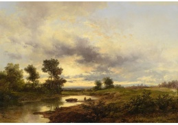 Slavné obrazy VIII-181 Remigius Adrianus van Haanen - Říční krajina s rybáři
