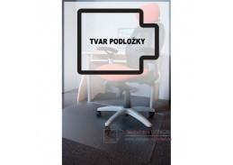 PC podložka pod židli s nopy, 150x120 cm, tvar L, čirá