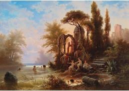 Slavné obrazy II-DDSO-398 Albert Rieger - Koupání v romantické krajině