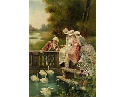 Slavné obrazy XVII-160 Franz Zatzka - Krmení labutí
