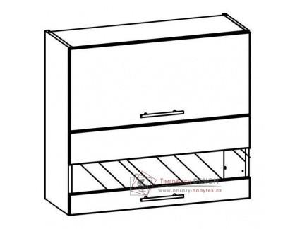 TIFFANY, kuchyňská horní vitrína T10/G80W bílá / bílý lesk