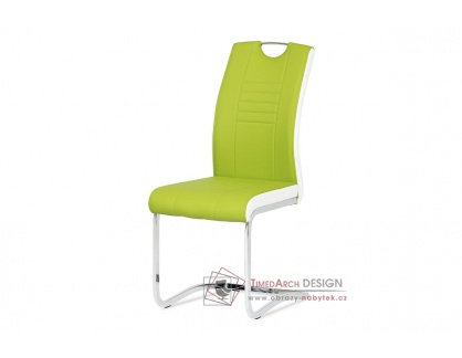 DCL-406 LIM, jídelní židle, chrom / ekokůže limetková + bílá