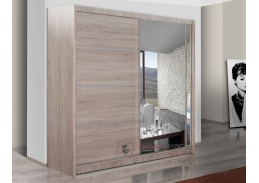 VISTA, šatní skříň s posuvnými dveřmi 180cm, dub sonoma / zrcadlo