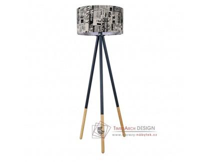 Stojací lampa CINDA typ 6 černý kov / látka s potiskem