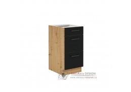 MONROVIA, dolní skříňka se 3-mi zásuvkami 40 D 3S BB, dub artisan / černý mat