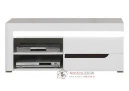 IRMA IM01, televizní stolek s LED osvětlením, bílá / vysoký lesk bílý