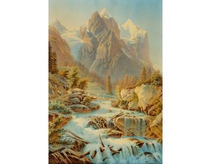 Slavné obrazy I-DDSO-136 Gabriel Mathias Lory - Výhled na Eiger