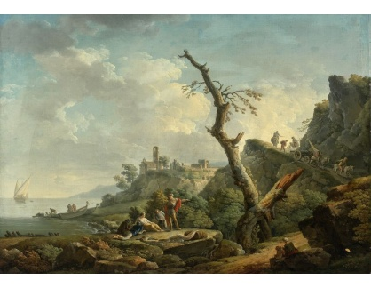 Slavné obrazy XVI-386 Carlo Bonavia - Říční krajina s postavami
