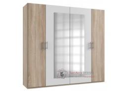 MIRABEL 750, šatní skříň 4-dveřová 220cm, dub / bílá