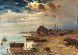 DDSO-3883 Julius Klever - Scéna za soumraku na pobřeží Baltského moře