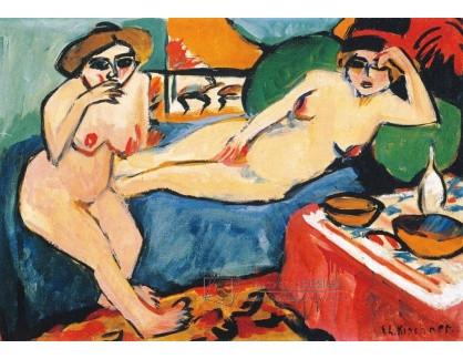 VELK 20 Ernst Ludwig Kirchner - Dvě nahé ženy na modré pohovce
