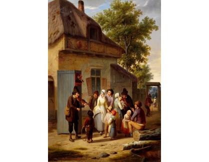 Slavné obrazy I-DDSO-68 Charles Venneman - Pouliční scéna s hudebníkem a loutkářem