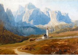 Slavné obrazy II-DDSO-461 Anton Hlavacek - Pohled na Kolfuschg