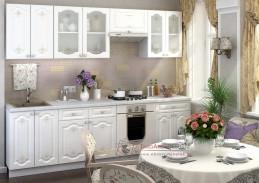 CHARLIZE, kuchyně 260cm, bílá / bílá se vzorem