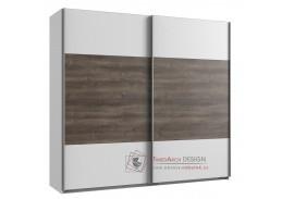MIRABEL 860, šatní skříň s posuvnými dveřmi 180cm, bílá / dub bahenní