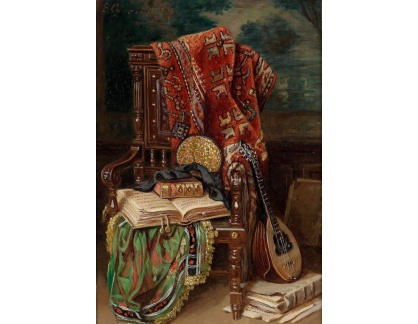 Slavné obrazy XVII-6 Ernst Czernotzky - Zátiší s knihou a loutnou