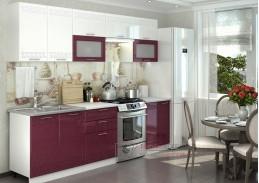GREECE, kuchyně 260cm, bílá / bílá metalic lesk / granátový metalic lesk