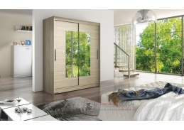 Šatní skříň s posuvnými dveřmi 150cm WESTA III dub sonoma / zrcadlo