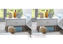 BERGEN 698, noční stolek - sada 2ks, bílá / dub