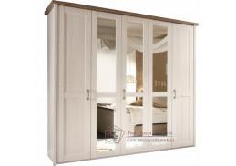 LUMERA, šatní 5ti-dveřová skříň 241cm, pinie bílá / dub sonoma truflový