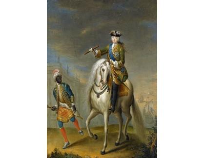 Slavné obrazy XVII-220 Georg Christoph Grooth - Portrét císařovny Elizabety Petrovny na koni