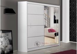 VISTA, šatní skříň s posuvnými dveřmi 180cm, bílá / zrcadlo
