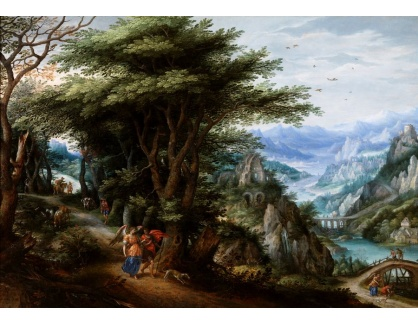 Slavné obrazy III-DDSO-548 Denis van Alsloot a Hendrick de Clerck - Krajina s Dianou a Actaeonem