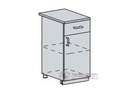 PROVENCE, dolní skříňka 1-dveřová se zásuvkou 40D1S, bílá / světle modrá