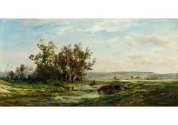D-6558 Charles Francois Daubigny - Krávy u rybníka v Morvan
