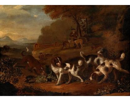 Slavné obrazy XVI-423 Cornelis Beeldemaker - Krajina s loveckými psy