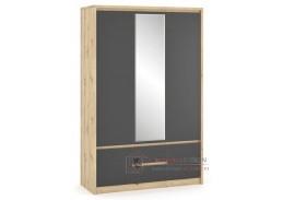 DOMINIKA, šatní skříň 3-dveřová, dub artisan / šedá