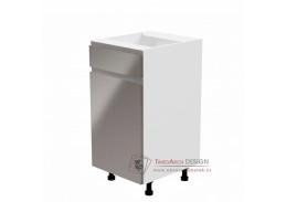 AURORA, dolní kuchyňská skříňka D40S1 - levá, bílá / šedý lesk