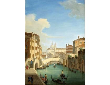 Slavné obrazy I-DDSO-363 Vincenzo Chilone - Rio Ognissanti a Trevisan Bridge v Benátkách
