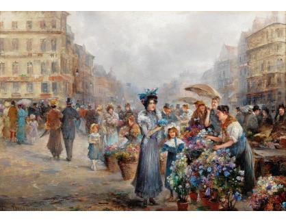 Slavné obrazy III-DDSO-563 Emil Barbarini - Květinový trh