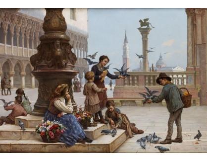 Slavné obrazy XVI-235 Antonio Ermolao Paoletti - Krmení holubů v Benátkách