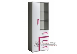 APETTITA 04, skříň kombinovaná, antracit / bílá / růžová