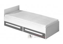 Postel 90x200 cm GULLIWER 11 bílá / šedá lesk / bílá