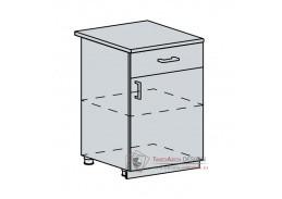 PROVENCE, dolní skříňka 1-dveřová se zásuvkou 60D1D1S, bílá / vanilka