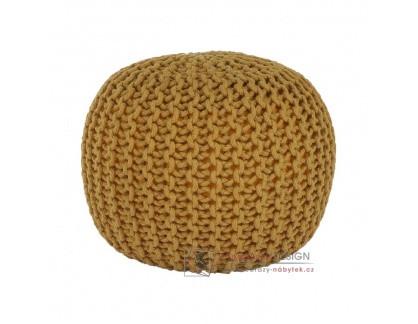 Pletený taburet 50x50x35cm GOBI typ 2 hořčicová bavlna