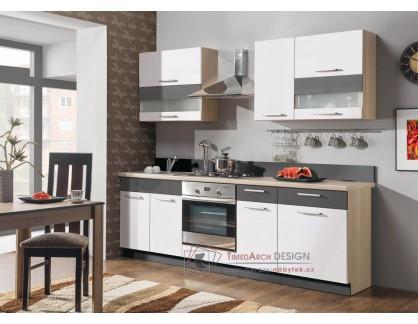 MODENA MDF, kuchyň s pracovní deskou 240cm, rijeka světlá / bílý lesk / grafit