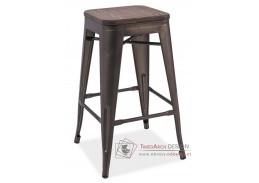 Barová kovová židle LONG II grafit / tmavý ořech