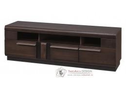 PORTI P-25, televizní stolek, dub čokoládový / černé sklo