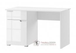 SELENE 14, pracovní stůl 1-dveřový se zásuvkou, bílá / bílý lesk