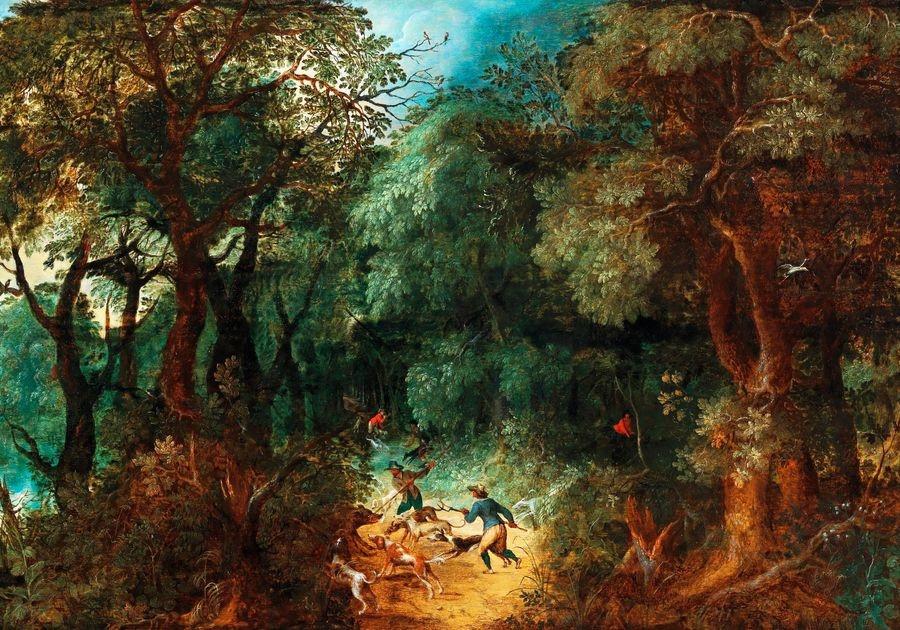 Slavné obrazy II-DDSO-369 Abraham Govaerts - Lesní krajina s lovem na medvěda