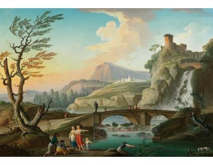 Slavné obrazy IX DDSO-872 Charles-Francois de Lacroix - Skalnatá říční krajina s postavami a mostem před vodopádem