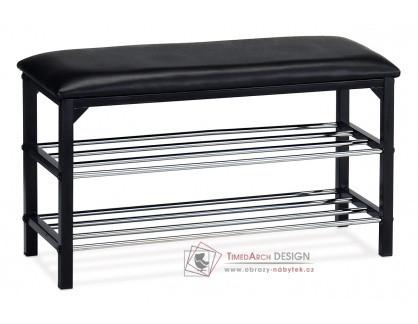83168-13 BK, botník - taburet, černý lak / koženka černá