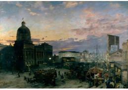 Slavné obrazy X-502 Theodor Groll - Washington Street, Indianapolis za soumraku