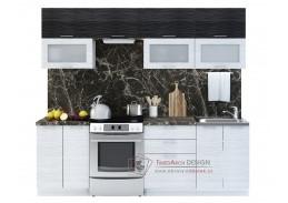 VALERIA II, kuchyně 240cm, bílá / black stripe