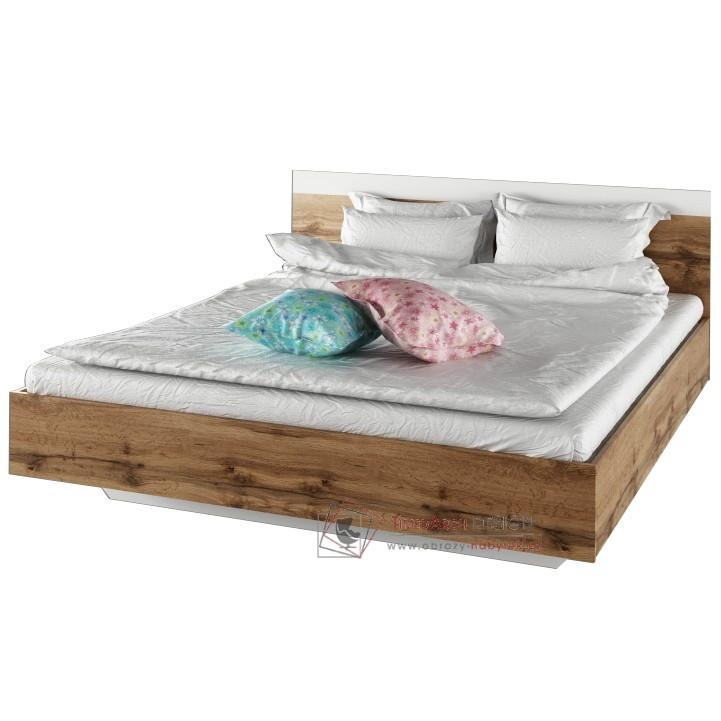Manželská postel 160x200cm GABRIELA dub wotan / bílá