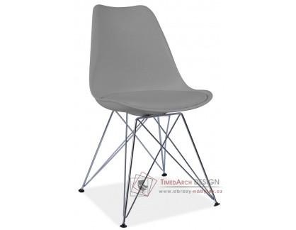 TIM, jídelní židle, chrom / plast + ekokůže šedá